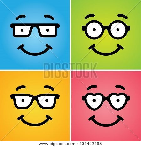 Four cute funny smiling geek faces in glasses of differ shapes on colorful backgrounds. Can be used as icon or logo or for card design concept