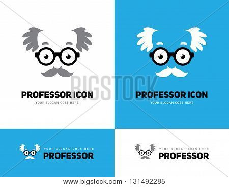 Grey haired old man face in round glasses icon. Professor teacher or scientist logo. Grandpas face symbol.