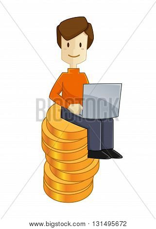 Vector stock of a man working with laptop sit on top of money stack