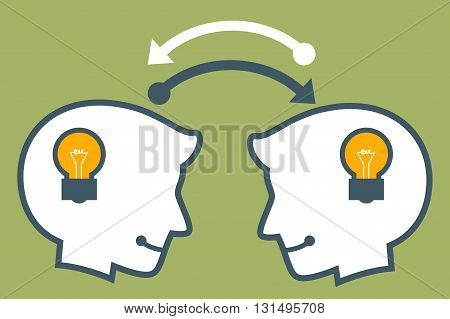 Vector stock of two human head silhouette sharing idea thought