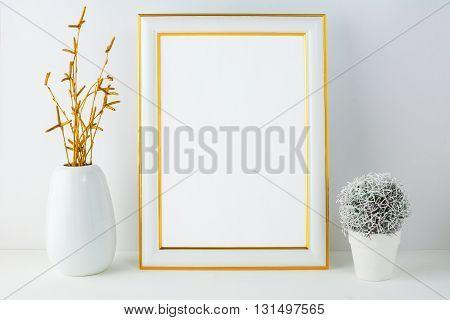 Frame mockup with small cactus. Frame mockup. Poster Mockup. Styled mockup. Product mockup. Design Mockup. White frame mockup. Gold frame mockup.