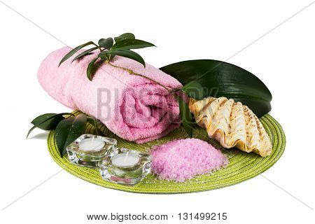 Spa concept with pink sea salt and candles. Spa. Spa treatment. Spa massage. Spa stones. Wellness spa. Spa concept. Spa still life concept
