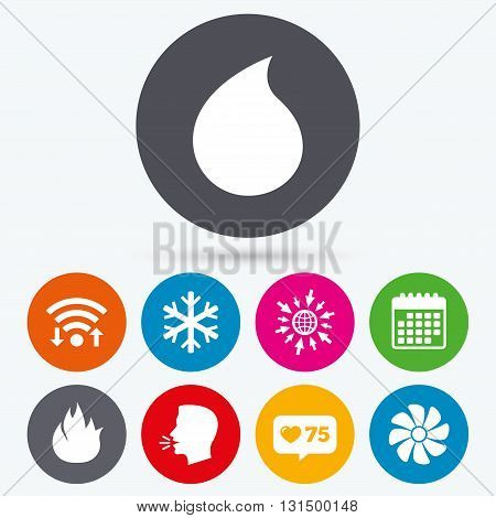 Wifi, like counter and calendar icons. HVAC icons. Heating, ventilating and air conditioning symbols. Water supply. Climate control technology signs. Human talk, go to web.