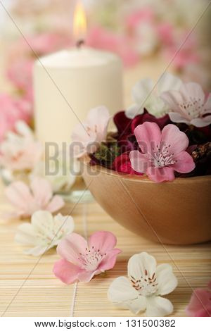 Artificial aromatic SPA flowers and aromatic candle
