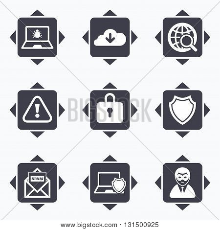 Icons with direction arrows. Internet privacy icons. Cyber crime signs. Virus, spam e-mail and anonymous user symbols. Square buttons.