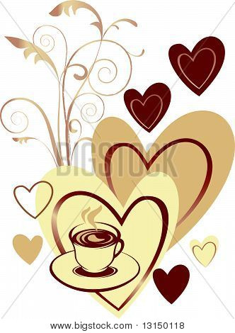 Coffee cup on the heart background