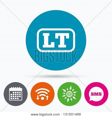 Wifi, Sms and calendar icons. Lithuanian language sign icon. LT translation symbol with frame. Go to web globe.