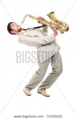 Portrait of a man playing the saxophone.