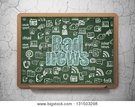 News concept: Chalk Blue text Bad News on School board background with  Hand Drawn News Icons, 3D Rendering