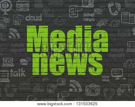 News concept: Painted green text Media News on Black Brick wall background with  Hand Drawn News Icons