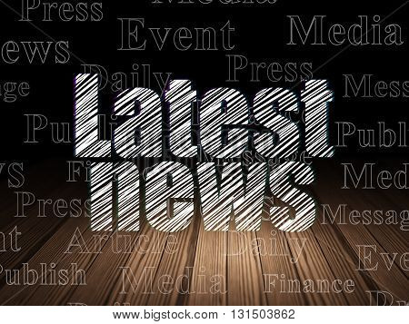 News concept: Glowing text Latest News in grunge dark room with Wooden Floor, black background with  Tag Cloud