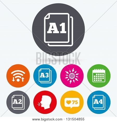 Wifi, like counter and calendar icons. Paper size standard icons. Document symbols. A1, A2, A3 and A4 page signs. Human talk, go to web.