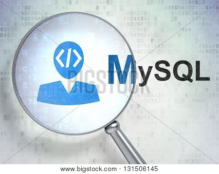 Programming concept: magnifying optical glass with Programmer icon and MySQL word on digital background, 3D rendering