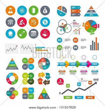 Wifi, calendar and web icons. Real estate, auction icons. Home key, discount and door signs. Business agent, award medal symbols. Diagram charts design.