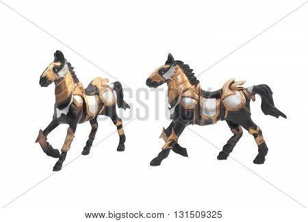 Isolated battle horse toy in golden & steel armor outfit angle & profile view.