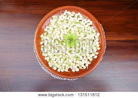 Group of white budded jasmine for making festoon
