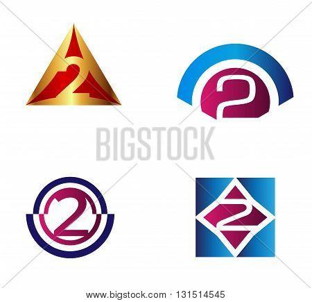 Number logo design.Number two logo illustration template