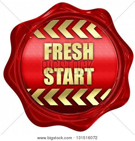 Fresh start sign, 3D rendering, a red wax seal