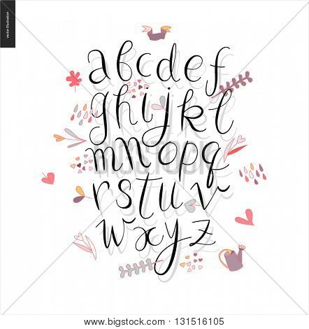 Script alphabet - vector illustrated script font with shadow on white background with gardening elements