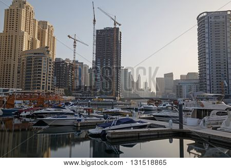 view on district Marina in Dubai at morning