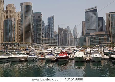 sight of district Marina in Dubai at morning