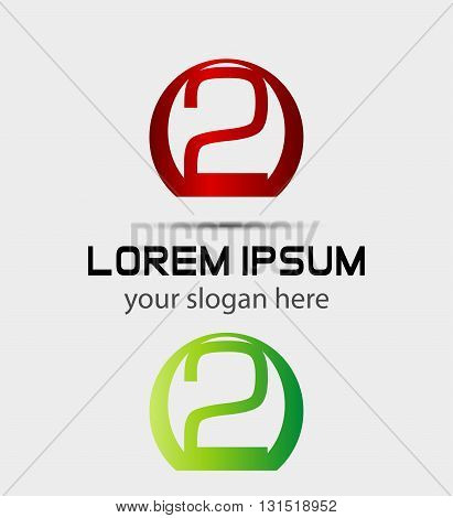 Abstract icons for number 2 logo. . Vector design template elements