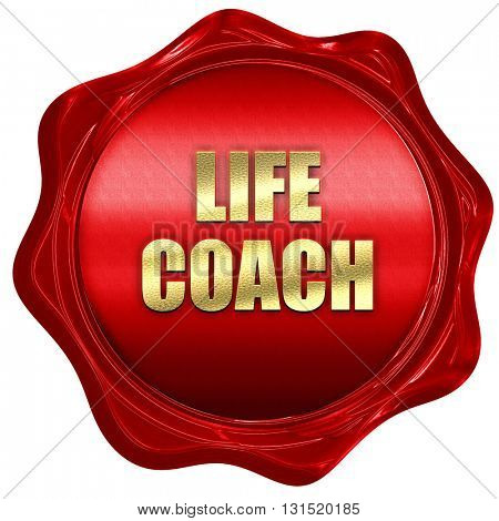 life coach, 3D rendering, a red wax seal