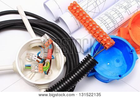 Components for use in electrical installations and rolls of electrical diagrams copper wire connections in electrical box energy concept