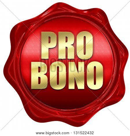 pro bono, 3D rendering, a red wax seal