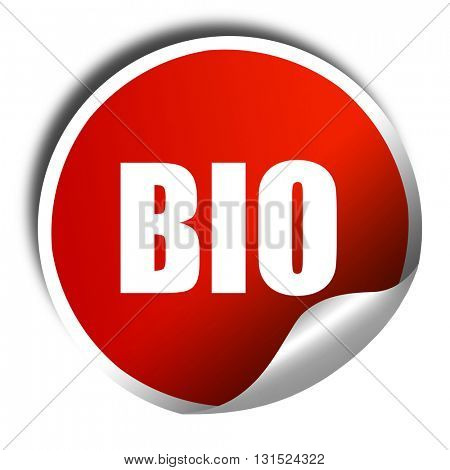 bio, 3D rendering, a red shiny sticker