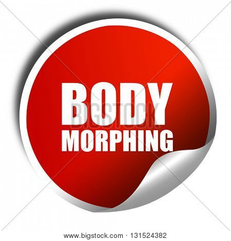 body morphing, 3D rendering, a red shiny sticker