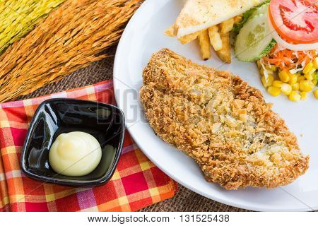 Steak Fish Dolly Wite Salad Withfrench Fries On Sack Background