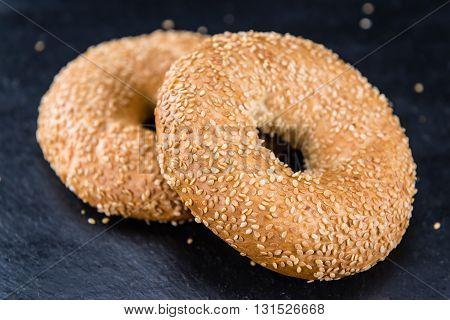 Sesame Bagels (selective Focus)