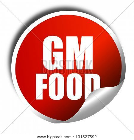 gm food, 3D rendering, a red shiny sticker