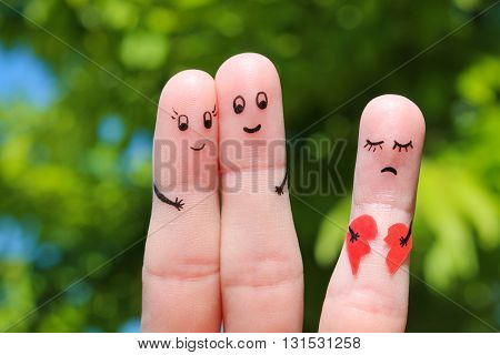 Finger art of Happy couple. Happy couple hugging. Other girl is holding a broken heart.