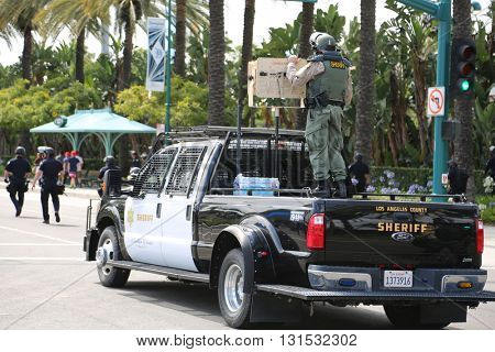 ANAHEIM CALIFORNIA, May 25, 2016: Police truck mounted with LTPMS-4 aka Magnetic Audio Device for use in Crowd Control during the Republican Nominee Donald J. Trump Rally Anaheim 5.25.2016