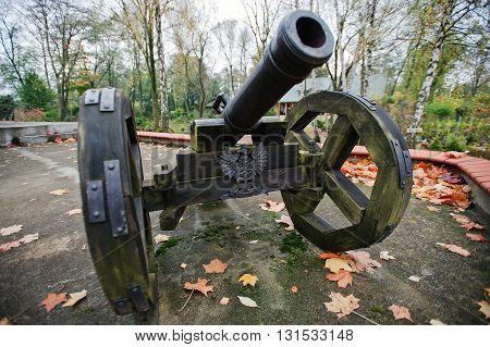 Ancient wheeled cast iron castle xx cannon