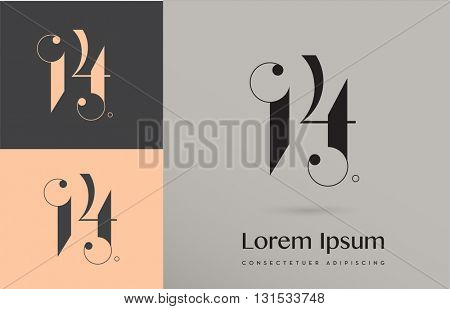 PREMIUM VECTOR LOGO / ICON DESIGN : DECORATIVE NUMBER FOURTEEN