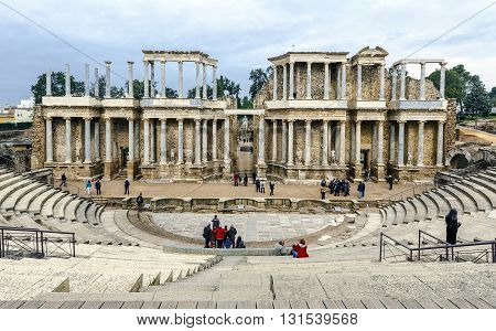 Merida Spain - March 18 2016: Merida is the capital of the autonomous community of Extremadura western central Spain. The Amphitheatre of Merida is a ruined Roman amphitheatre.