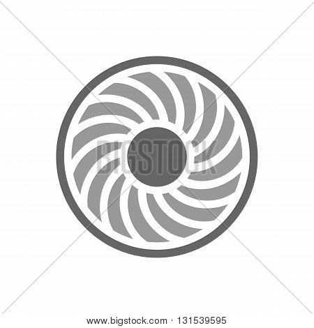 Jet engine turbine blades vector illustration isolated on white background.