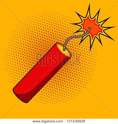 Comic style dynamite on colorful background. Cartoon style dynamite stick. Design element in vector for logo label flyer poster.