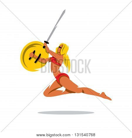 A woman with a shield and sword in a jump attack. Isolated on a white background