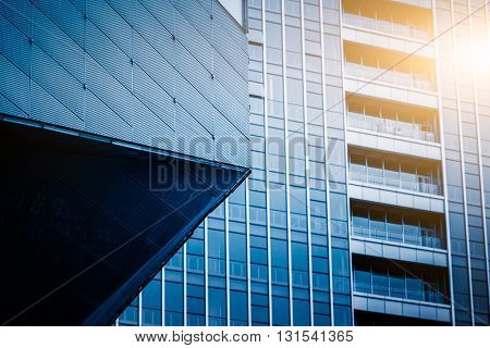 modern building exterior,blue toned image.