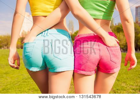 Close Up Photo Of Beautiful Shapely Woman's Buttocks In  Shorts