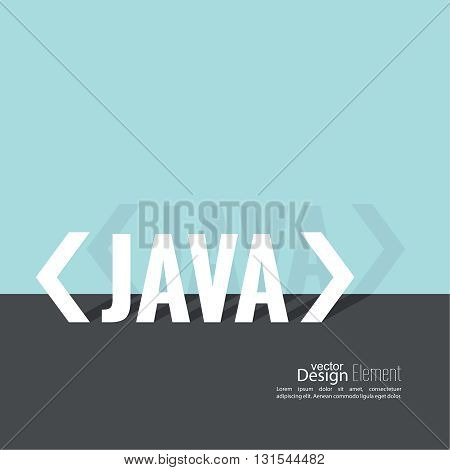Progrmming code vector. Closing brackets and slash, java. Operator in a programming language. Flat design with shadow.