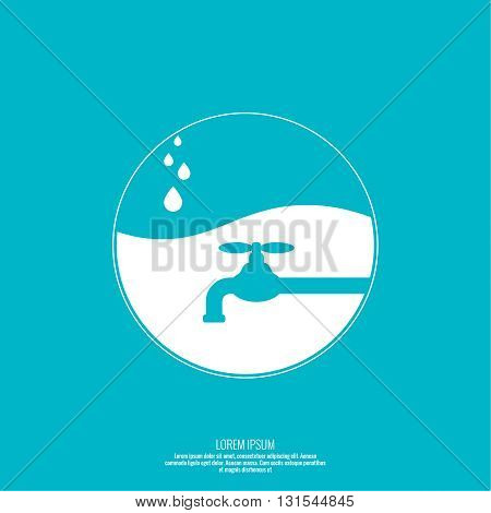 Abstract background with tap water drop. Flat design. Concept of saving resources. Vector element. Sphere with the liquid and drops of water.
