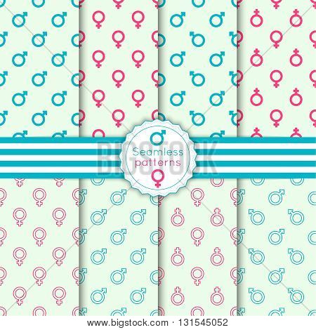 Vector set seamless pattern with male and female symbols, banner and ribbon. Repeating geometric texture. For wrapping paper, fabric, textiles, wallpaper, substrate. outline, minimal, pink, blue