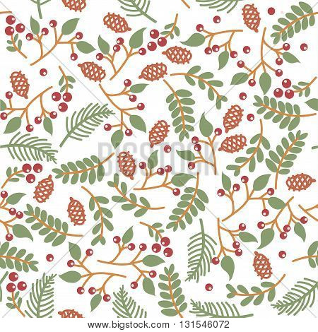 christmass seamless floral texture on white background