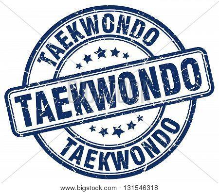 Taekwondo Blue Grunge Round Vintage Rubber Stamp.taekwondo Stamp.taekwondo Round Stamp.taekwondo Gru