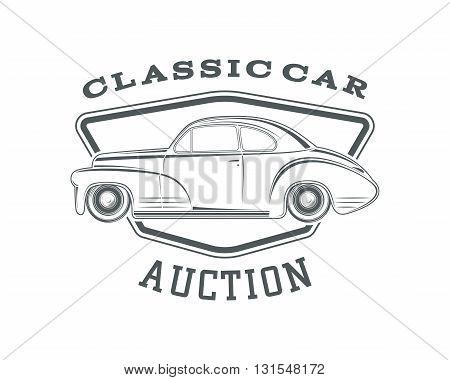 Vintage, classic car label, car auction badge template. Vintage car auction. Classic second hand car sale. Vector illustration.